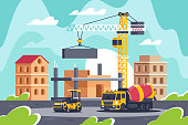 Construction of big building with heavy machinery, concrete mixer, road roller, crane. Concept construction equipment, architecture, manufacturing process. Vector illustration.
