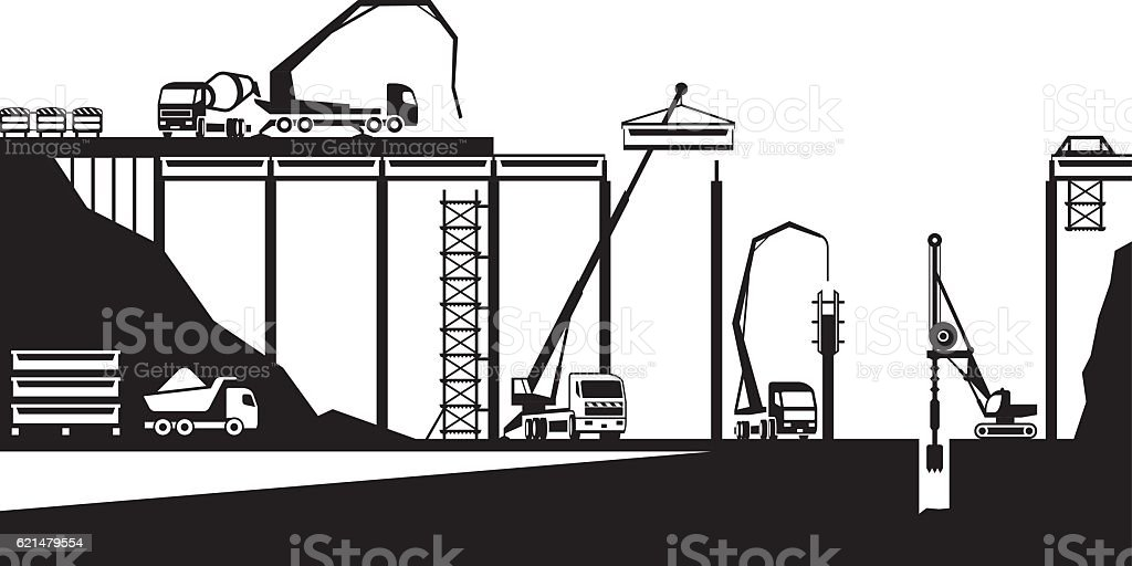 Construction of bridge on road vector art illustration