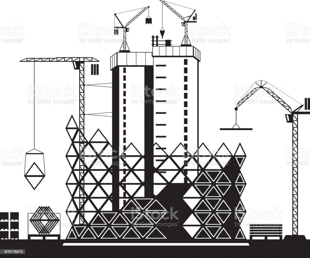 Construction of high rise buildings vector art illustration