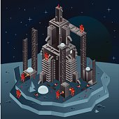 Robots, peoples and cars building a huge rocket. Isometric view.