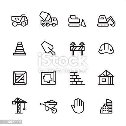 Construction industry / 16 line black on white icons / Set #65 Pixel Perfect Principle - all the icons are designed in 48x48pх square, outline stroke 2px.  First row of outline icons contains:  Dump Truck, Cement Truck, Bulldozer, Earth Mover;  Second row contains:  Traffic Cone, Trowel, Construction Barrier, Helmet;  Third row contains:  Crate, Plan, Brick Wall, Construction Frame;   Fourth row contains:  Crane, Wheelbarrow, Stop Gesture, Skyscraper.  Complete Inlinico collection - https://www.istockphoto.com/collaboration/boards/2MS6Qck-_UuiVTh288h3fQ