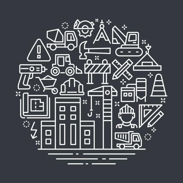 construction outline illustration concept. - mieszkanie komunalne stock illustrations