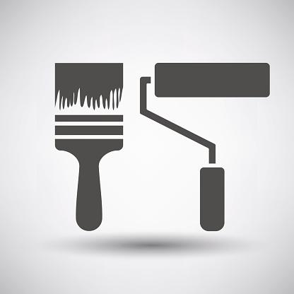 Construction paint brushes icon