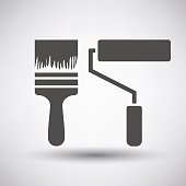 Construction paint brushes icon on gray background with round shadow. Vector illustration.
