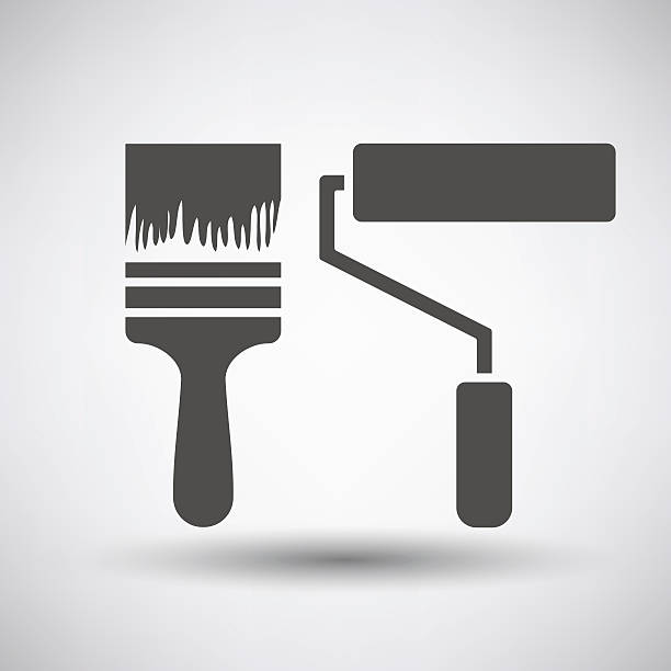 Construction paint brushes icon Construction paint brushes icon on gray background with round shadow. Vector illustration. paint roller stock illustrations