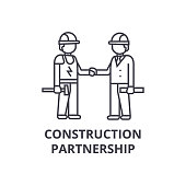construction partnership vector line icon, sign, illustration on white background, editable strokes