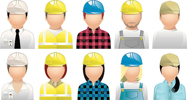 construction people - avatars and user icons - plaid shirt stock illustrations