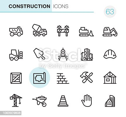 20 Outline Style - Black line - Pixel Perfect icons / Set #63 / Construction / Icons are designed in 48x48pх square, outline stroke 2px.  First row of outline icons contains:  Dump Truck, Cement Truck, Construction Barrier, Bulldozer, Earth Mover;   Second row contains:  Forklift, Trowel, Drawing Compass, Built Structure, Helmet;  Third row contains:  Crate, Plan, Brick Wall, Hand Tools, Construction Frame;   Fourth row contains:  Crane, Wheelbarrow, Traffic Cone, Stop Gesture, Skyscraper.  Complete Primico collection - https://www.istockphoto.com/collaboration/boards/NQPVdXl6m0W6Zy5mWYkSyw