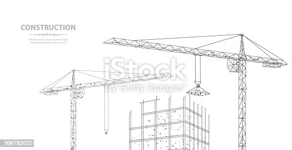 Construction. Polygonal wireframe building under crune isolated on white. Drawing, graphics. Construction, development, architecture or other concept illustration or background