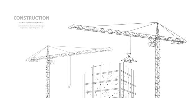 Construction. Polygonal wireframe building under crune isolated on white. Drawing, graphics. vector art illustration