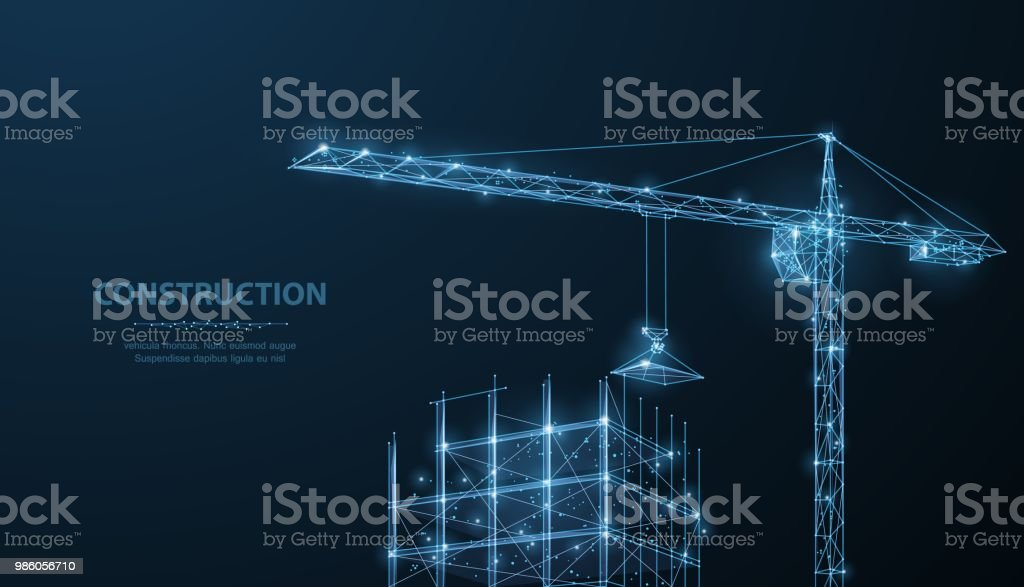 Construction. Polygonal wireframe building under crune on dark blue night sky with dots, stars. royalty-free construction polygonal wireframe building under crune on dark blue night sky with dots stars stock illustration - download image now