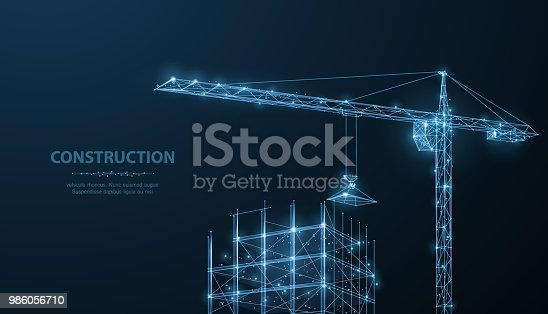 Construction. Polygonal wireframe building under crune on dark blue night sky with dots, stars. Construction, development, architecture or other concept illustration or background