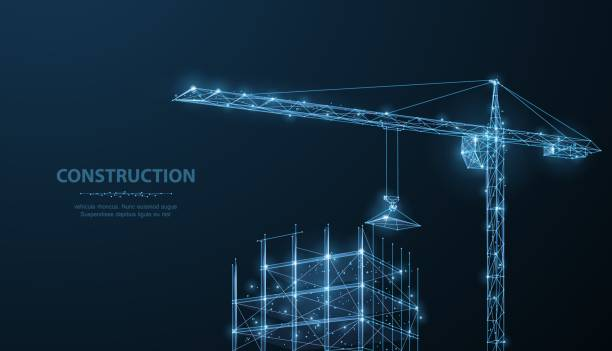 construction. polygonal wireframe building under crune on dark blue night sky with dots, stars. - abstract architecture stock illustrations