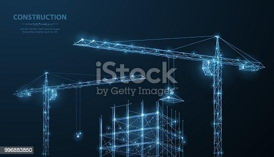 istock Construction. Polygonal wireframe building under crune on dark blue night sky with dots, stars. 996883850