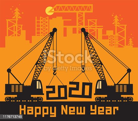 Cranes, Construction power machinery, Happy New Year 2020 card, vector illustration