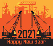 Cranes, Construction power machinery, Happy New Year 2021 card, vector illustration