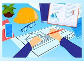 istock Construction project workplace at architect table vector illustration. House plan with tools, smartphone and book. Engineering. 1312095708