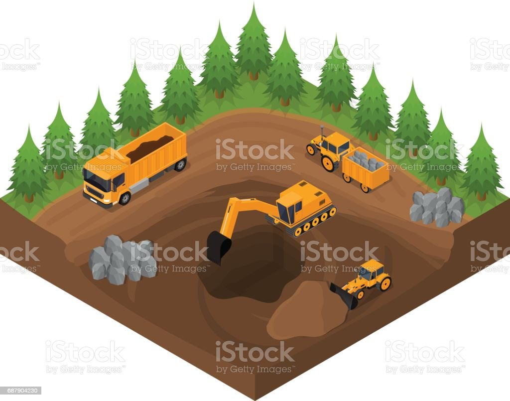 Construction Quarry with Excavators and Equipment Isometric View. Vector vector art illustration