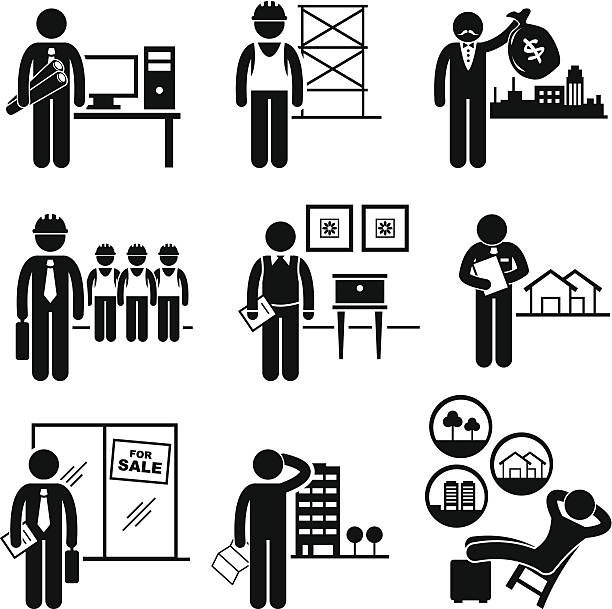 Construction Real Estates Jobs Occupations Careers A set of pictograms showing the professions of people in the construction and real estates industry. banking silhouettes stock illustrations