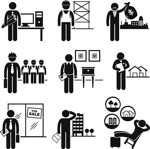 Trabajo construcción Real Estates puestos de oportunidades de empleo - ilustración de arte vectorial