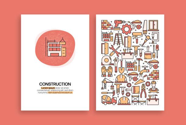 bildbanksillustrationer, clip art samt tecknat material och ikoner med konstruktionsrelaterad design. moderna vektormallar för broschyr, omslag, flygblad och årsredovisning. - construction workwear floor