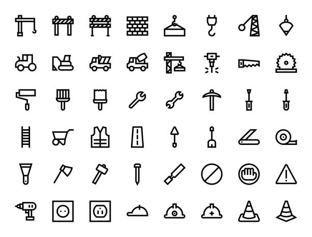 construction related icon outline design construction related icon outline design, editable stroke nail work tool stock illustrations