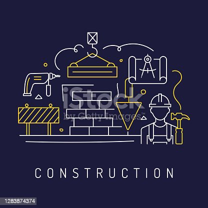 istock Construction Related Modern Line Art Icons Background. Linear Style Vector Illustration. 1283874374