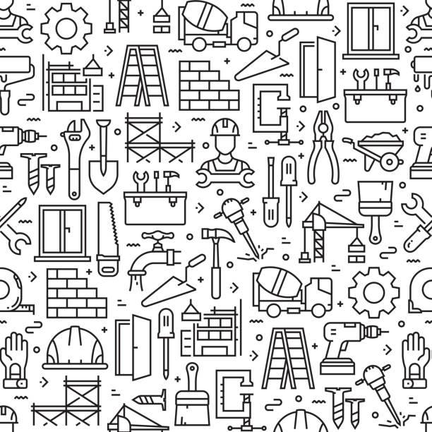 bildbanksillustrationer, clip art samt tecknat material och ikoner med konstruktion sett sömlöst mönster och bakgrund med linjeikoner - construction workwear floor