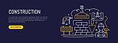 istock Construction Related Web Banner Line Style. Modern Design Vector Illustration for Web Banner, Website Header etc. 1296098798