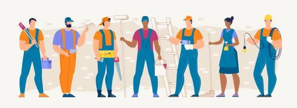 Construction, Repair, Cleaning Service Workers Set Construction Industry Professions and Workforce Flat Vector Concept with Various Specialties Male and Female Workers in Uniform Standing in Row with Work Tools and Equipment in Hands Illustration carpenter stock illustrations