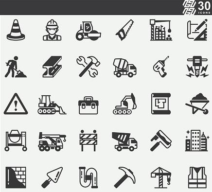 Construction ,Repair, Renovation, Blueprint, Helmet, Hammer, Brick, Work Tools, Spatula Silhouette Icons