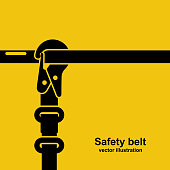 Construction safety belt black icon. Silhouette seat belt fastened to the pipe. Template banner for the layout of construction work and security. Vector illustration flat design. Isolated background.
