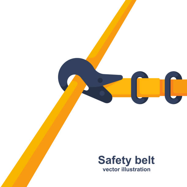 Construction safety belt. Seat belt fastened to the pipe Construction safety belt. Seat belt fastened to the pipe. Template banner for the layout of construction work and security. Vector illustration flat design. Isolated on white background. safety harness stock illustrations