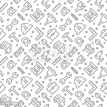 Construction seamless pattern with thin line icons