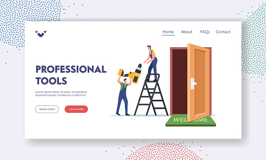 Construction Service with Professional Tools Landing Page Template. Carpenters Stand on Ladder with Drill Repairing Door