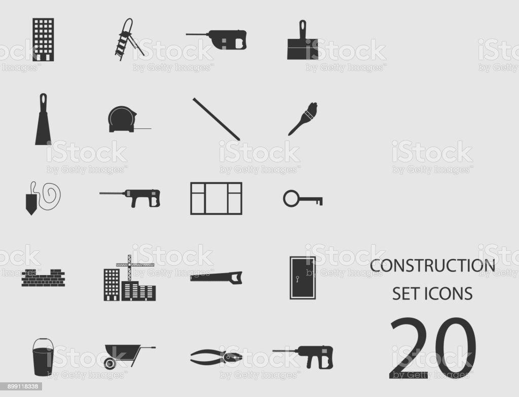 Construction set of flat icons. Vector illustration vector art illustration