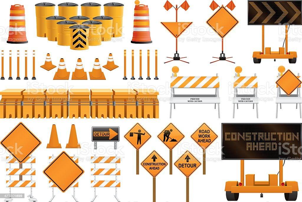 Construction Signs vector art illustration