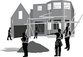 A vector silhouette illustration of a team of construction workers working on the exterior of a house.