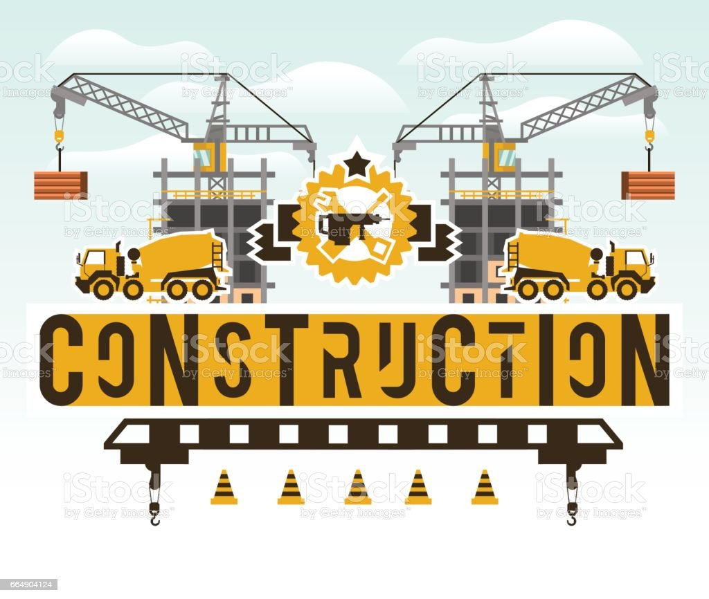 Construction site. Crane lifting concrete slabs. Lettering on the isolated background. Concrete mixer. Construction machinery. symbol building tools. Unfinished house. Vector illustration. Flat style vector art illustration