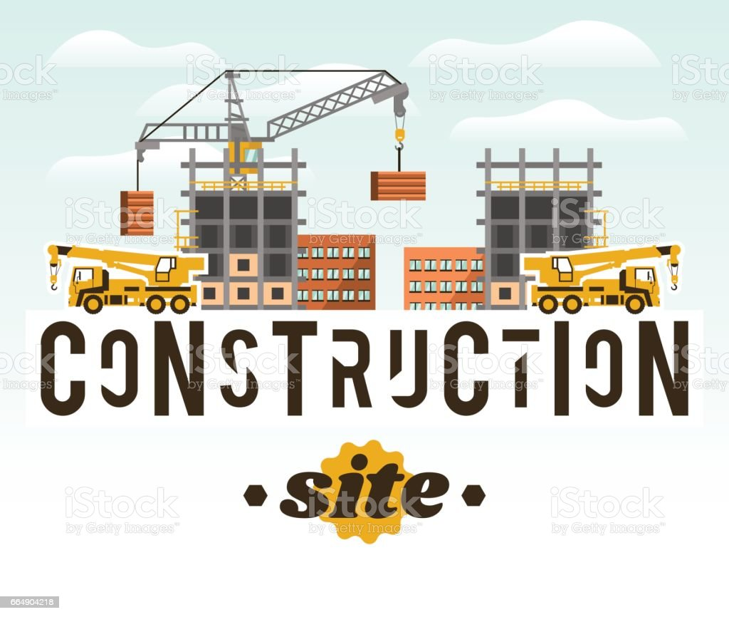 Construction site. Crane lifting concrete slabs. Lettering on the isolated background. Crane Truck. Unfinished house. Vector illustration. Flat style construction site crane lifting concrete slabs lettering on the isolated background crane truck unfinished house vector illustration flat style - immagini vettoriali stock e altre immagini di adulto royalty-free