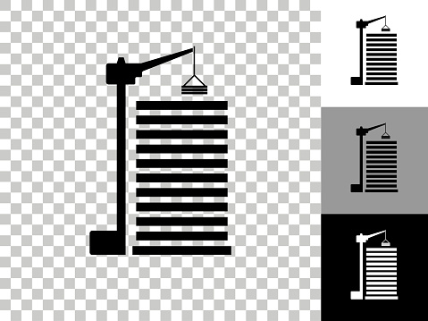 Construction Site Icon on Checkerboard Transparent Background
