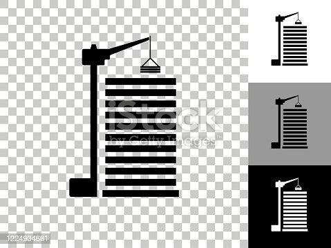Construction Site Icon on Checkerboard Transparent Background. This 100% royalty free vector illustration is featuring the icon on a checkerboard pattern transparent background. There are 3 additional color variations on the right... This 100% royalty free vector illustration is featuring the icon on a checkerboard pattern transparent background. There are 3 additional color variations on the right..