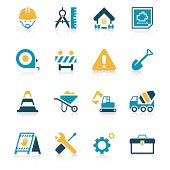 It is full of bright colors and lively construction Site icon set
