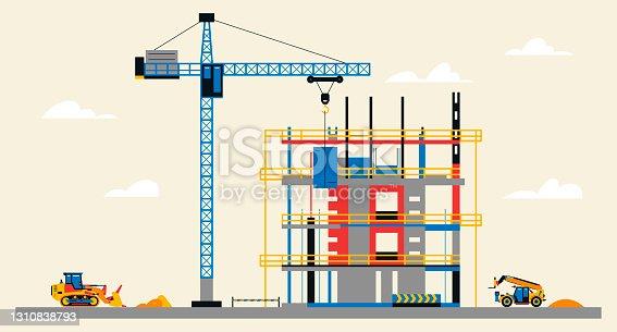 istock Construction site illustration. Building under construction. Heavy machinery work on site, bulldozer and telehandler, large crane, unfinished building. Vector illustration, flat design 1310838793