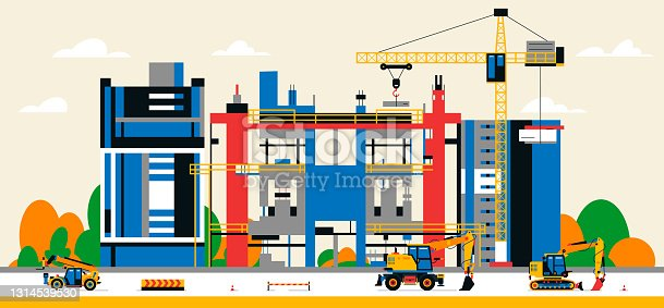 istock Construction site in the city between city buildings. Building under construction and service equipment. Heavy machinery, commercial vehicles, crane, houses, buildings. Vector illustration 1314539530