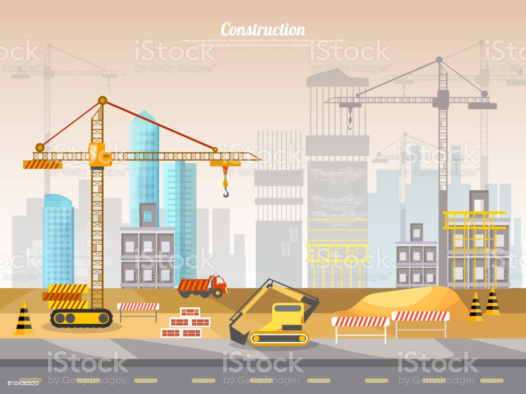 Construction site industrial background vector art illustration