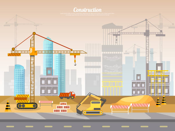 Construction site industrial background – Vektorgrafik
