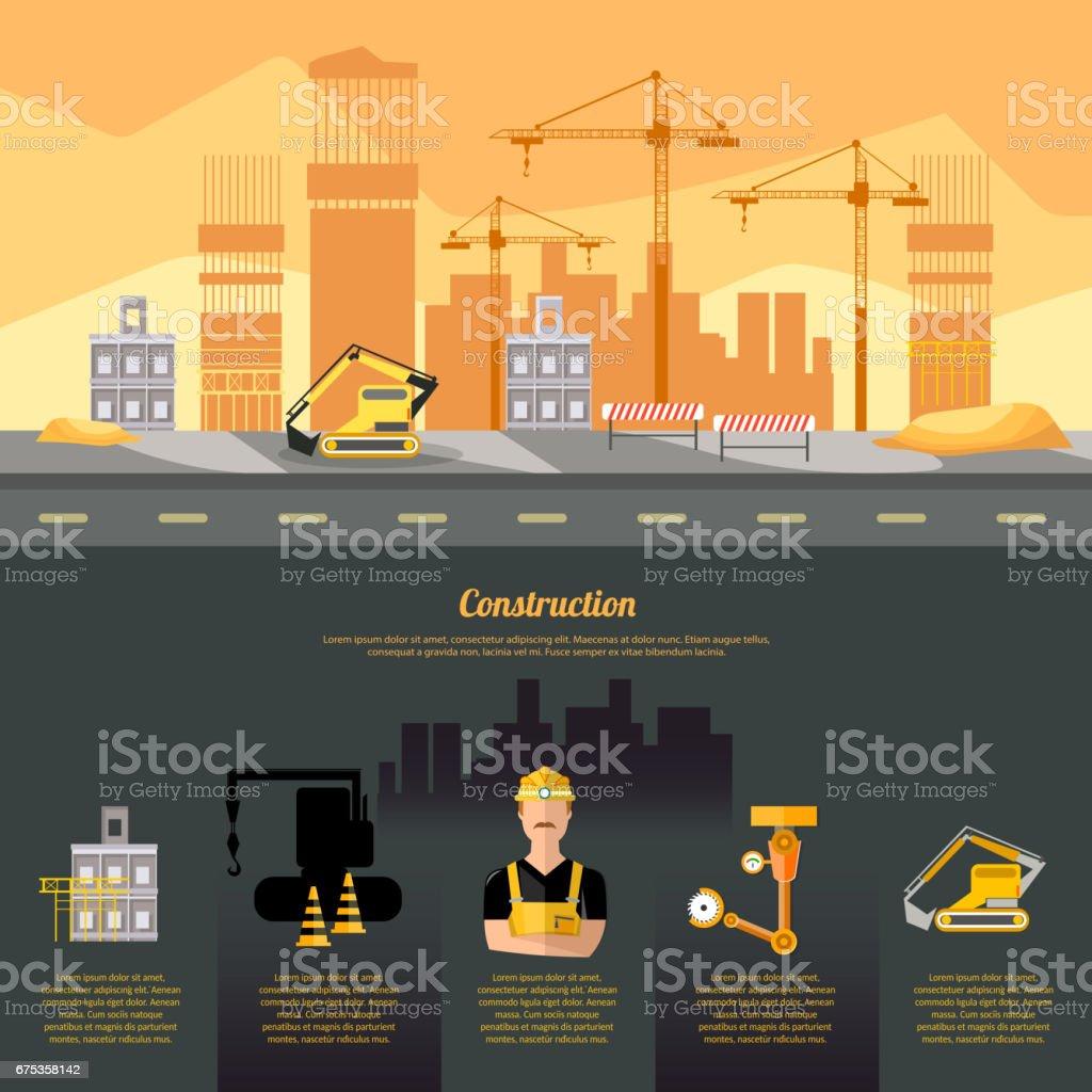 Construction site infographics, construction equipment, builder on building site design template industrial background - ilustração de arte em vetor