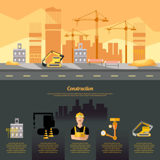 ilustrações, clipart, desenhos animados e ícones de infographics do canteiro de obras, equipamento de construção, construtor no fundo industrial do molde do projeto do local de construção - infográficos de site