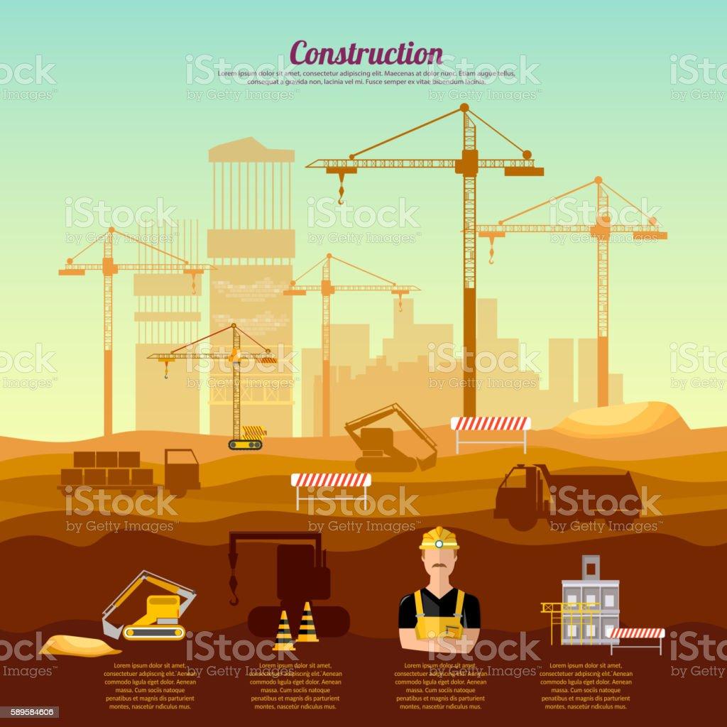 Construction site infographics industrial background vector art illustration